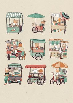 Cute Illustration, Watercolor Illustration, Drawing Reference Poses, Art Reference, Food Stall, Book Projects, Elements Of Art, Food Illustrations, Art Inspo