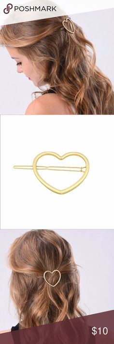 ADORABLE ✨ Gold Heart Hair Barrette This adorable gold heart hair barrette is the perfect finishing touch to your hair style. Made of gold alloy.   Comes in a pink jewelry bag, perfect for gift giving.   Add this barrette to a bundle along with another item from my shop and I will send you an amazing offer! Inspired Closet Accessories Hair Accessories