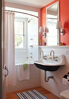 kleines bad einrichten badideen wand orange