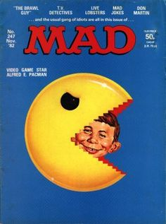 Pacman cover in Mad Magazine 247 Mad Magazine, Book And Magazine, Magazine Articles, Magazine Covers, Caricature, Comic Book Covers, Comic Books, Alfred E Neuman, Nostalgia