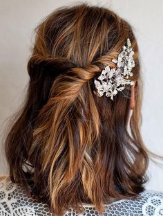 Bridesmaid hair with a flower