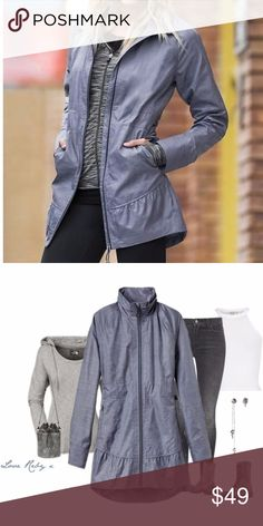 """XXS Athleta City Chick Blue Windbreaker Jacket **Barely worn, light windbreaker jacket from Athleta. Stock picture true to color!  Really looks like new.  **Women's size XXS  **Cinch waist, side pockets with zippers, 100% polyester, water resistant  ** """"City Chick"""" model, rounded, high low hem  In excellent condition.   16 """" underarm to underarm-; 14"""" waist;  28.5"""";  33"""" back length; 29""""  arm length from neck to wrist Athleta Jackets & Coats Trench Coats"""