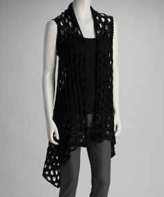 Take a look at this Black Pointelle Vest by Fantazia on #zulily today!