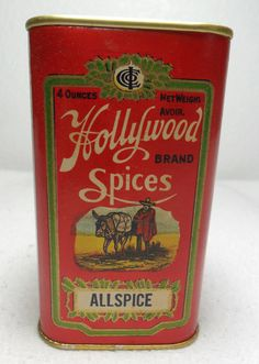 Hollywood Spice Tin Allspice RARE Near Mint Makers of Corona Coffee | eBay