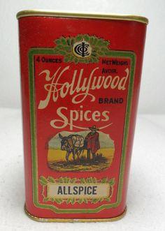 Hollywood Spice Tin Allspice RARE Near Mint Makers of Corona Coffee   eBay