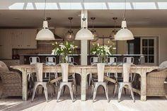 farmhouse-style dining room w/skylight