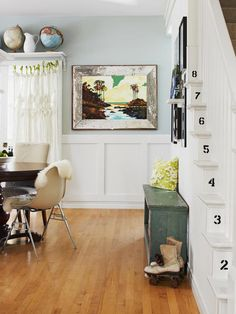 Love the black stenciled numbers on the stair risers!