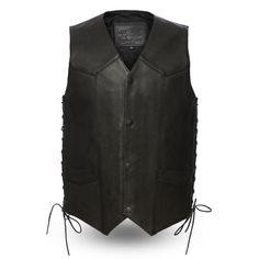 First Manufacturing Deadwood Vest Black Biker Jacket, Biker Vest, Black Vest, Vest Jacket, Western Vest, Western Shirts, Western Style, Biker Leather, Motorcycle Leather