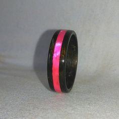 Pink Flash in Dark Ebony Bentwood Ring