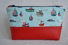 nautical cosmetic make up bag pouch, zipper bag