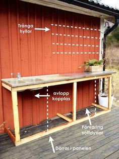 Backyard Projects, Outdoor Projects, Beach House Deck, Simple Outdoor Kitchen, Outdoor Sinks, Small Backyard Design, Swedish House, Summer Kitchen, Diy Patio