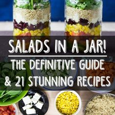 How to pack a salad in a jar - the definitive guide & 21 stunning recipes Mason Jar Meals, Meals In A Jar, Salad In A Jar, Soup And Salad, Vegetarian Recipes, Cooking Recipes, Healthy Recipes, Healthy Salads, Healthy Eating