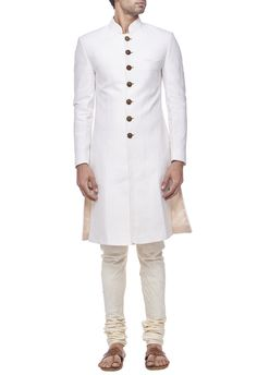 Shop Sahil Aneja Ivory quilted sherwani , Exclusive Indian Designer Latest Collections Available at Aza Fashions Indian Groom Wear, Indian Suits, Indian Men Fashion, Mens Fashion, Mens Traditional Wear, Achkan, Wedding Sherwani, Indian Man, Groom Outfit