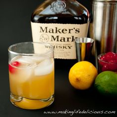 Whiskey sour  ■4 parts whisky   ■2 parts simple syrup (see below)   ■1 part freshly squeezed lemon juice, strained   ■1 part freshly squeezed lime juice, strained   ■ice, preferably crushed   ■GARNISH:  1 maraschino cherry