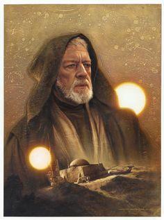 Ben Kenobi (Topps Galaxy 7: Star Wars Illustrations) | By: Jerry Vanderstelt, via GeekTyrant (#benkenobi #obiwankenobi #starwars)