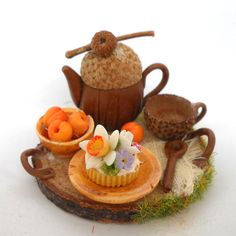 - rustic fairy fantasy tray with tea and cake for one
