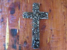 Mosaic Jigsaw Wall Cross-18 Inch-Metal Art-Welded Art-Scrap Metal-Religion-Crucifix-Handmade-Gift-Steel-Collage by MetalDisorder on Etsy