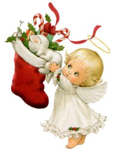 Cute Christmas Angel Pictures | Cute Christmas Angel with White Kitten and Stocking Free PNG Clipart ...