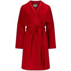 Phase Eight Bruna Belted Coat (€145) ❤ liked on Polyvore featuring outerwear, coats, jackets, coats & jackets, long sleeve coat, long coat, long coat with belt, red coat and coat with belt