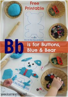 Bb is for buttons, blue and bear - FREE printable teddy bear play dough mat