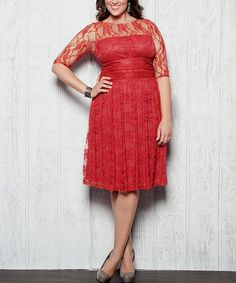 This Coral Lace Luna Dress - Plus is perfect! #zulilyfinds