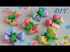 Бабочки-бантики из репсовых градиентных лент и помпонов. МК/DIY - YouTube