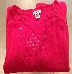Izod Womens Sweater Size L Large Magenta Knit Sequins