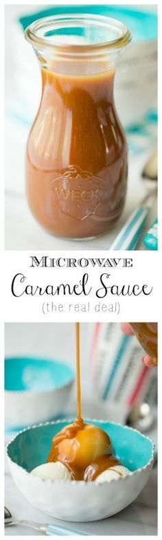 Microwave (Real Deal) Caramel Sauce - decadently delicious, old fashioned caramel sauce made with an easy, new fangled method!