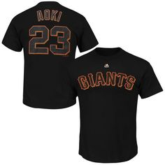 Norichika Aoki San Francisco Giants Majestic Official Name and Number T-Shirt - Black - $16.99