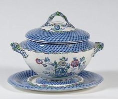 English, ca 1830-1840, pottery soup tureen with lid and undertray with transfer decoration called, Portland Vase. Stamped on bottom, Copeland/Spode; ht. 10, dia. of undertray, 13 in