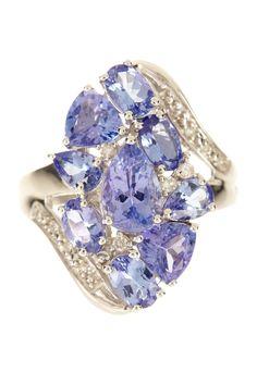 Tanzanite White Diamond Cluster Ring