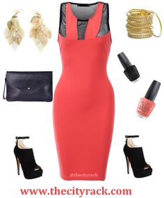 This peach dress is perfect for spring/summer '14. The bright colour is refreshing and uplifting while the bodycon fit and mesh inserts give it that elegant edge so it can be worn for a whole host of occasions. Team with our fabulous black shoe boots and matching clutch bag and finish off with some peach nails and golden jewels.