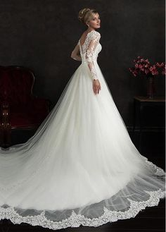 Marvelous Tulle Illusion High Neckline A-line Wedding Dress with Beaded Lace Appliques
