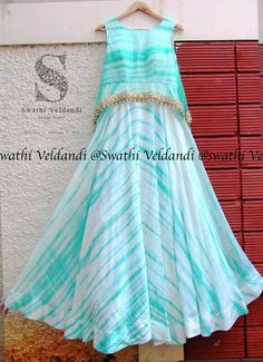 Handmade Tie and Dye sleeveless Chiffon Long Gown/Frock Indian Gowns Dresses, Indian Outfits, Stylish Dresses, Fashion Dresses, Long Gown Dress, Long Frock, Long Gowns, Long Dresses, Kids Frocks