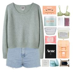 """""""what you expect me to do? // hacked"""" by d-isappear ❤ liked on Polyvore featuring Topshop, Acne Studios, Formula 10.0.6, Herschel Supply Co., Davines, By Nord, Korres, Byredo, The Body Shop and La Mer"""
