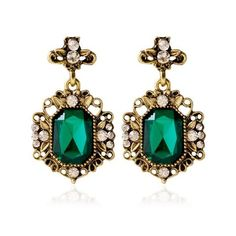 Green Pair of Rhinestone Antique Geometric Earrings (38 UAH) ❤ liked on Polyvore featuring jewelry, earrings, antique jewellery, green jewelry, antique earrings, rhinestone earrings and green jewellery