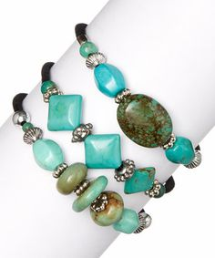 Another great find on #zulily! Turquoise Magnesite Bracelet Set by Pavcus Designs #zulilyfinds