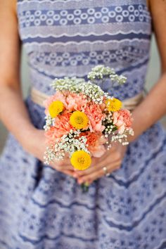 Simple and sweet bouquet consisting of carnations and baby's breath