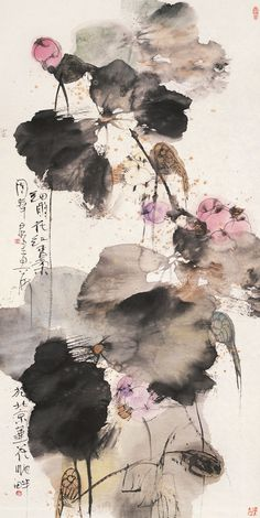 transcendental abstractionism holger lippmann / artist www / twit / fb Zen Painting, Korean Painting, Japan Painting, Traditional Ink, Traditional Paintings, Chinese Painting Flowers, Chinese Flowers, Watercolor Flower, Watercolour