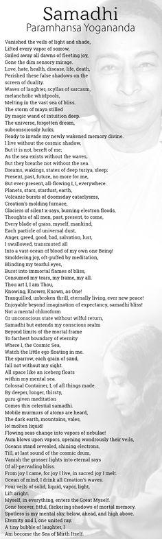 Samadhi poem by Paramhansa Yogananda, samadhi poem image