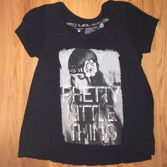 "black graphic tee flowy black tee shirt / ""pretty little thing"" silver lettering / stretchy material / worn a few times Tops"