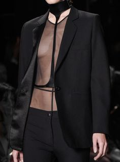 Black suit with sheer top & leather harness; fashion details // Ann Demeulemeester Spring 2016