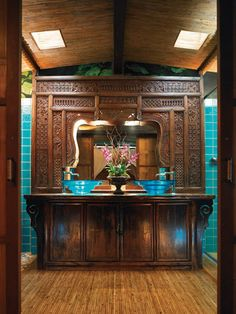 The Indonesian Carved Panel makes an exquisite mirror. Florida Design Magazine Sources Online presents Tomasz Rut Home Studio.