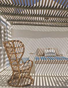 Wicker chair designed by Gio Ponti for an Italian cruise ship. Vinyl Pergola, Pergola Curtains, Metal Pergola, Deck With Pergola, Cheap Pergola, Wooden Pergola, Backyard Pergola, Pergola Shade, Pergola Plans