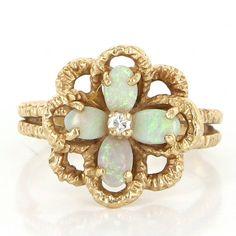 Vintage 14 Karat Yellow Gold Opal Diamond Flower Cocktail Ring Estate Jewelry
