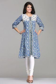 Chic Blue & White Floral A-Line Jacket Style Cotton Kurta By Farida Gupta