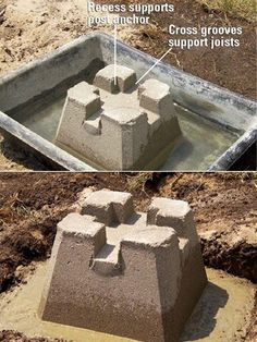 Exceptional concrete deck footings # 3 Precast concrete footings Though age-old with concept, this pergola Deck Footings, Concrete Footings, Concrete Deck, Decking, Mix Concrete, Poured Concrete, Deck Building Plans, Building A Shed, Two Level Deck