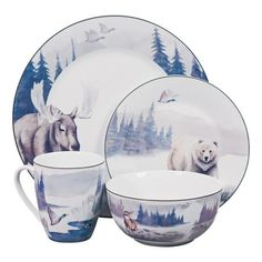 • Different wilderness portraits on each piece  • Crafted from elegant porcelain  • Microwave and dishwasher safe    Cabela's Lodge 16-Piece Porcelain Dinnerware Set graces your table with the forest's most magnificent inhabitants. Each piece features a different scene and animal, perfect for anyone who enjoys spending time in the outdoors. Crafted from porcelain, which is great for