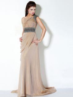 Empire Style Floor Length Asymmetrical Neck Champagne Chiffon Short Train Bridesmaid Dress