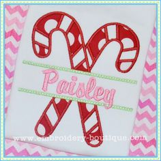 Split Candy Canes Applique- can use a more masculine font for a boy.